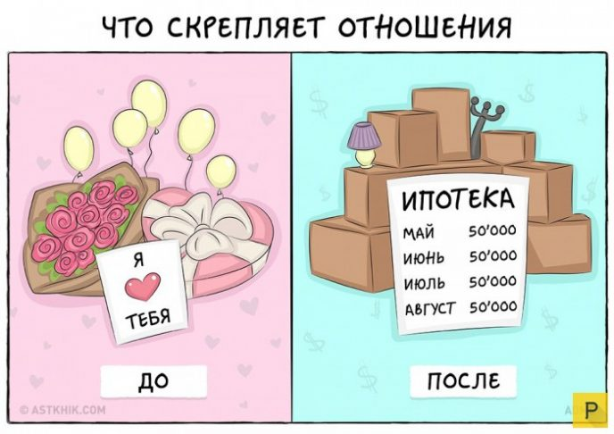 7 забавных иллюстраций о том, как выглядит жизни до и после свадьбы