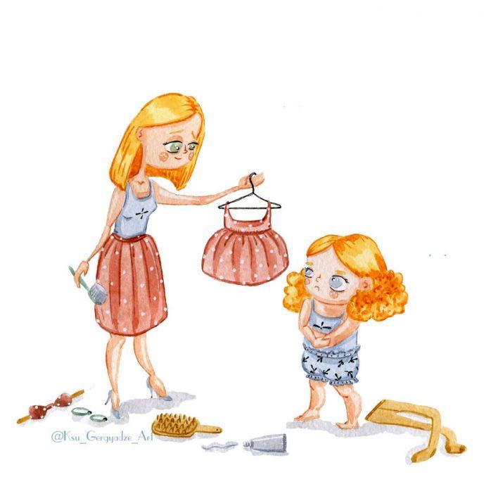 «Моя 3-летняя дочь не дает мне заскучать» — забавные иллюстрации от художника из России