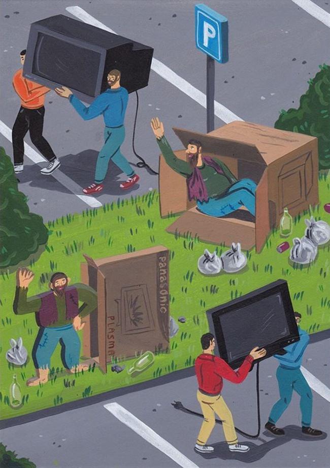 14 иллюстраций, обнажающих темную сторону современного общества