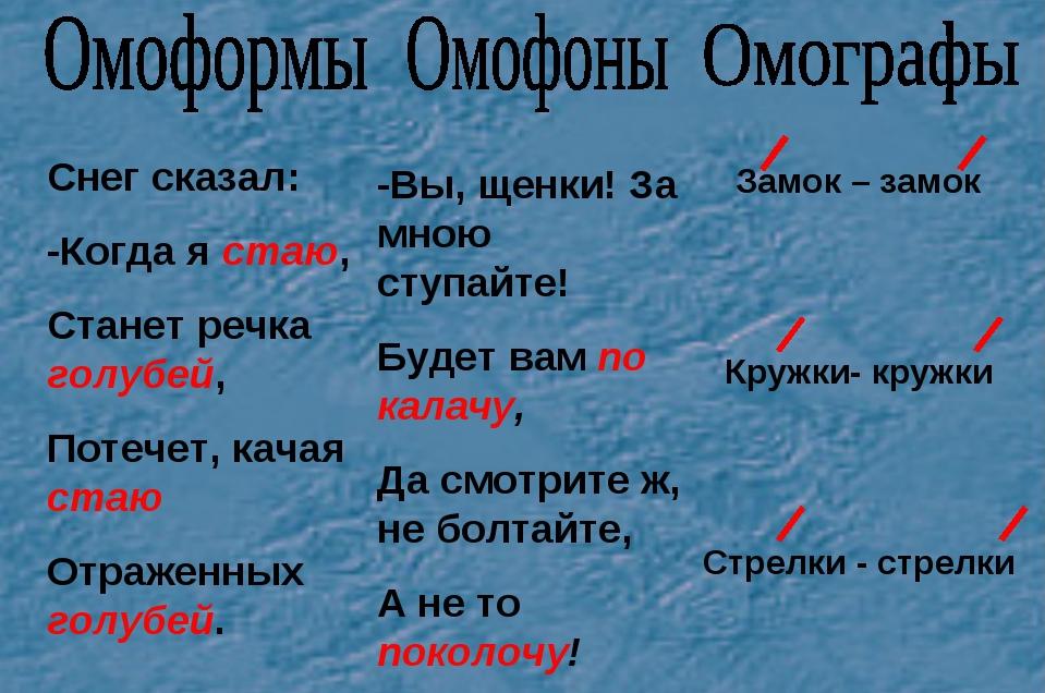 Омофоны: примеры слов. Что такое омофоны в русском языке
